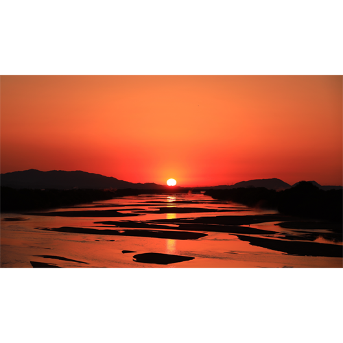 斐伊川の朝焼け